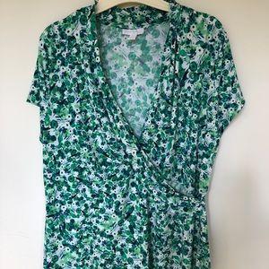 Charter Club Green Faux Wrap Cap sleeve Blouse